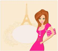 Beautiful women shopping in paris - vector card Stock Illustration