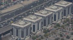 Vehicles Passing Dubai Skyline Aerial View Busy City Freeway Rush Hour Daylight Stock Footage