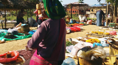 Open air local market in Inle Lake traditional village Stock Footage