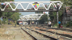 TRAIN TRACKS: View of tracks with distant train approaching - stock footage