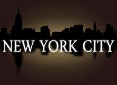 Stock Illustration of new york city skyline reflected with dramatic sky and text illustration