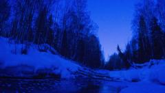 Alaska Aurora Borealis through trees #5, Day to Night Stock Footage