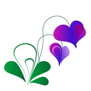Valentine flower with violet hearts on white background Stock Illustration