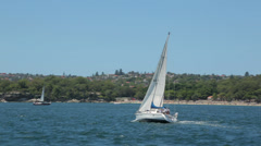 Yacht, sail boat sailing in sydney harbour, australia Stock Footage
