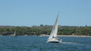 Stock Video Footage of yacht, sail boat sailing in sydney harbour, australia