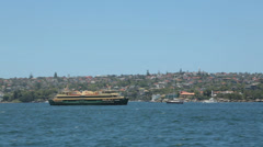 Manly ferry returning to circular quay, sydney harbour, australia Stock Footage