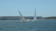 Stock Video Footage of sail boats and yachts in sydney harbour, australia