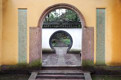 Chinese rounded archway on Beishan Hill, Hangzhou, China - stock photo
