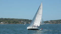 yacht, sail boat sailing in sydney harbour, australia - stock footage