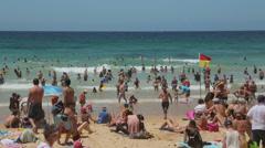 People sunbathing on manly beach, sydney, australia Stock Footage