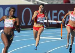 Laia Forcadell of Spain in action on 400m hurdles Stock Photos