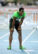 Dayron Robles of Cuba after of his failure on 110m hurdles Stock Photos