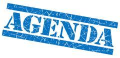 agenda blue square grunge textured stamp isolated on white - stock illustration