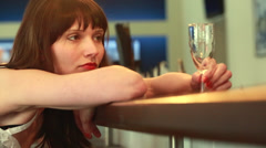 Lonely woman at the bar, part 2 Stock Footage