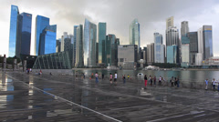 Asia Singapore Skyline Financial district after raining Stock Footage