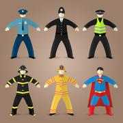 Professions set of policeman, fireman and superman - stock illustration