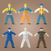 Professions set of workers and builders Stock Illustration