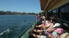 Passengers on ferry leaving manly, sydney, australia Stock Footage
