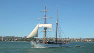 Stock Video Footage of tracking clip of tall ship in sydney harbour, australia