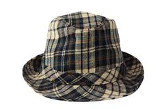 Checked plaid fedora hat isolated Stock Photos
