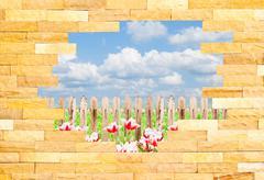 Crashed brick wall with beautiful landscape behi Stock Illustration