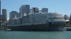 Oosterdam cruise ship moored at circular quay, sydney, australia Stock Footage