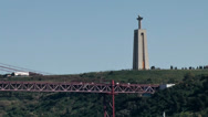 Stock Video Footage of Europe Portugal Lisbon riverside 054 christ statue and end of bridge