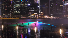 Stunning Light Laser show Asia Singapore Skyline Marina Bay Financial district Stock Footage
