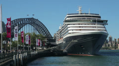 Oosterdam cruise ship moored at circular quay, sydney, australia Stock Footage
