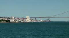 Europe Portugal Lisbon riverside 058 three important landmarks in one scene Stock Footage