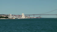 Stock Video Footage of Europe Portugal Lisbon riverside 058 three important landmarks in one scene