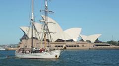 tall ship sails past sydney opera house, australia - stock footage