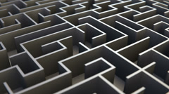 Endless maze concept of discovery, confusion and challenges - loopable animation - stock footage