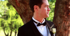 Nervous groom waiting for his bride Stock Footage