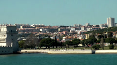 Europe Portugal Lisbon riverside 057 passing the Belém Tower Stock Footage