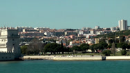 Stock Video Footage of Europe Portugal Lisbon riverside 057 passing the Belém Tower