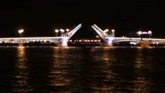 Bridge Rises at Night in St Petersburg Russia Stock Footage