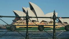 Sydney ferry passes opera house, australia Stock Footage