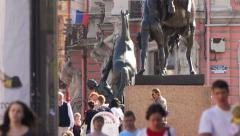 Crowd Pedestrians near Anichkov Bridge in St Petersburg Stock Footage