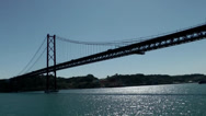 Stock Video Footage of Europe Portugal Lisbon riverside 050 pass under the great bridge