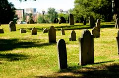 Stock Photo of Cemetery with many tombstones on the bright day