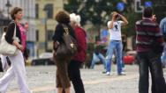 Stock Video Footage of Crowd Tourists in St Petersburg Russia Slow Motion