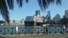 Holland america oosterdam cruise ship departs quay, sydney, australia Stock Footage