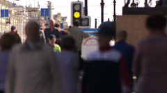 Crowd Pedestrians on Nevsky Prospekt in St Petersburg Stock Footage