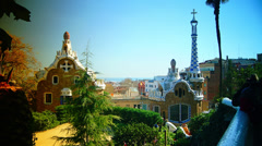 A timelapse shot in Parc Guell, one of the city's major tourist attractions, - stock footage