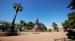 Monument to Catherine II Ostrovsky Square St Petersburg Stock Footage