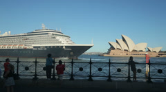 Holland america oosterdam cruise ship departs quay, sydney, australia Stock Footage
