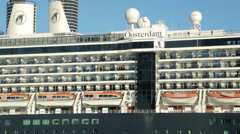 Close up holland america oosterdam cruise ship departs sydney Stock Footage
