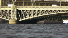 Neva River and Trinity Bridge in St Petersburg Russia - stock footage
