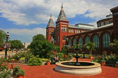 smithsonian castle, landmark in washington dc, usa - stock photo